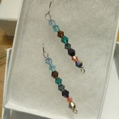 Drop Earrings Silver 925 Silver Earrings 925 Bicone Cut Glass  Beaded drop Multi Color Brilliant Display A beautiful design  Gift boxed Jewelry Earrings
