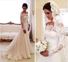 White Wedding Dresses,Long Sleeves Wedding Gown,Lace Wedding Gowns,Mermaid