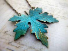 Patina Leaf Necklace from SteampunkByDesign on Etsy