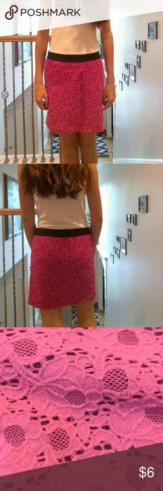 SALE pretty pink and black mini skirt. Cute pink skirt mini.  Floral design.  Super cute needs a new home soon because it is to short for me but it is to short for my likes.  Take advantage of the sale.  Fits a size small. Candie's Skirts Mini