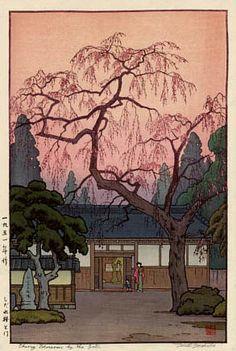 hanga gallery . . . torii gallery: Cherry Blossoms by the Gate by Toshi Yoshida