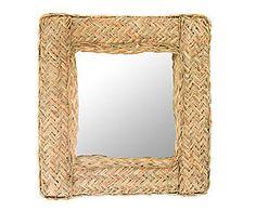 Espejo de pared cuadrado enmarcado en esparto – 42