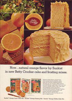 Vintage 1968 Betty Crocker Cake Mix Magazine Ad Sunkist Orange Kitsch Food Advertising Retro Kitchen Decor Collect Frame or use for Crafting by CapricornOneEphemera on Etsy Retro Recipes, Old Recipes, Vintage Recipes, Betty Crocker, Orange Chiffon Cake, Orange Cakes, Vintage Ads, Vintage Food, Retro Ads