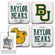 $29.99 Baylor Set of 4 Coasters with Stand. Made in the USA.  Item can be purchased at the Frisco Mercantile located at 8980 Preston Road, Frisco, TX 75034.  Item can also be purchased directly from me and shipped.  Email/call/text for additional information texasfirepony@gmail.com  806-576-6393. #texasfirepony #friscomerc #friscomercantile #friscomercantilefriscotexas #richardsonmercantile #madeinusa #madeintheusa #madeinamerica #texasfirepony #baylor #baylornation #baylorbears…
