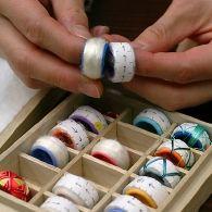 The fabric and batting base of Japanese thimble rings,or yubinuki.