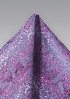 Designer Einstecktuch aus Seide in lila violett fein gemustert