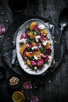 Winterlicher Blutorangen-Bete Salat mit Frischkäse