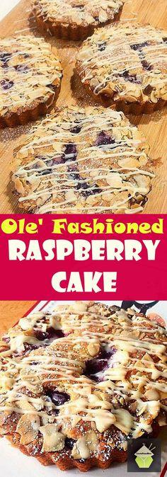 Ole' Fashioned Raspberry Cake. An incredibly easy cake to make. Guaranteed it won't be dry! #cake #raspberry #easyrecipe