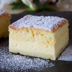 The 'magic' of the cake is that you make only one custard-like batter, which then separates into three layers while it bakes.