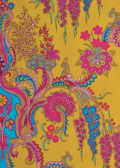 Jo Ann --- mustard Crazy Love by Jennifer Paganelli for FreeSpirit features intense jewel-like colors that dance around on a dark rich saturated palette, creating the perfect storm of vibrato sensibility. Textiles, Textile Prints, Textile Patterns, Textile Design, Fabric Design, Ethnic Patterns, Paisley Art, Paisley Design, Paisley Pattern