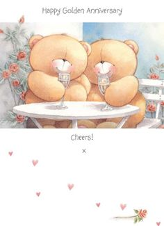 Happy Golden Anniversary! Cheers! tjn Blue Nose Friends, Friends In Love, Cartoon Pics, Cute Cartoon, Friend Cartoon, Teddy Bear Pictures, Hello Kitty Plush, Happy Anniversary, Golden Anniversary