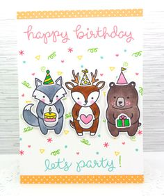 Lawn Fawn - Party Animal, Ink: Wild Rose, Mermaid, Freshly Cut Grass, Sunflower, Celery Stick, Cranberry _ adorable Party on a Card by Annette via Flickr