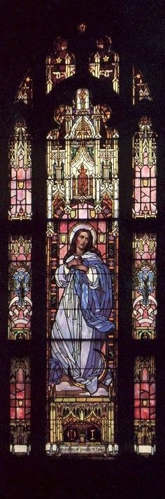 Our Lady of Mount Carmel Church: Mary Immaculate ~ Chicago IL Stained Glass Church, Stained Glass Art, Stained Glass Windows, Mosaic Glass, Catholic Art, Religious Art, Madonna, Graphisches Design, Church Windows