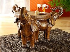 Beistelltisch Blumenhocker Afrika Style Elefant Skulptur Trio Tablett Deko  NEU: Amazon.de: Küche U0026 Haushalt