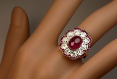 Antique Ruby Diamond Edwardian Engagement Ring - Antique Jewelry | Vintage Rings | Faberge Eggs