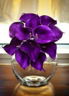Floral arrangement, touched up photo or painting? Purple Calla lilies.