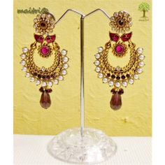 Online Shopping for Antique Earring -  Purple Gold  | Earrings | Unique Indian Products by Maitri Crafts - AME    - Purple Gold Length : 8 cm, Breadth at the center : 3.5 cm  maitri_crafts@yahoo.com