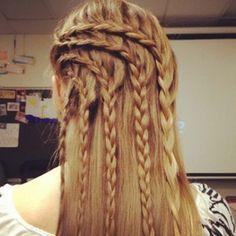 quintuple half-french braids