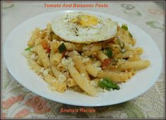 Tomato And Balsamic Pasta#Improv - Sneha's Recipe Asparagus Bacon, Cooking Challenge, Caprese Chicken, Braised Chicken, Caprese Salad, Pasta, Stuffed Peppers, Dishes, Recipes