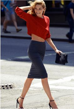 Below the knee pencil skirt! Jessica Hart By Nayia Ginn