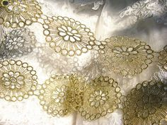 metallic gold lace trim jewelry lace trim by Lacefabricstore