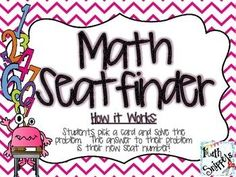 Math Seatfinder: A Seating Chart Management Activity {Freebie} This is how my sixth grade students will be finding their seat numbers on the first day of school. Each student picks a card and solves the problem. The answer to the problem is the seat number. All problems aligned to fifth grade common core math standards.