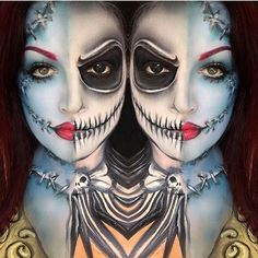 Sally & Jack Nightmare Before Christmas Makeup by natalie drysdale How can you learn tricks if you're just starting … Halloween Town, Halloween Cosplay, Halloween Make Up, Halloween Face Makeup, Halloween Ideas, Creepy Halloween, Halloween 2017, Halloween Costumes, Black And Red Makeup