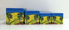 """Tree Cane #39 """"Blue Skies Gum Trees and Canola Fields"""" 