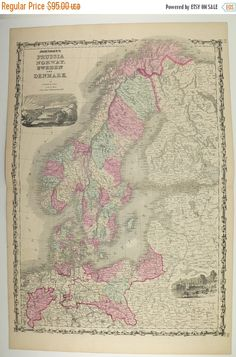 1800s Sweden Map Norway Denmark Map Scandinavia 1862 Johnson Map, Unique Office Gift for Coworker, Antique Art Map, Northern Europe Map available from OldMapsandPrints.Etsy.com #Sweden #Norway #Denmark