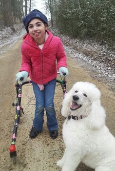 Our daughter on her first walk in the snow in her walker, at ten yrs old!!