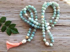 GRACEFUL WARRIOR MALA #amazonite #feldspar #pearl