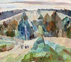 "lawrenceleemagnuson: "" Grace Cossington Smith (Australia Evening Landscape at Pentecost oil on board x 32 cm "" Landscape Art, Landscape Paintings, Landscapes, Lawrence Lee, Fauvism, Pentecost, 1930s, Illustration Art, Auction"