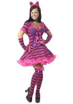 Adult Alice In Wonderland Chesire Cat Halloween Costume Plus Size & Wig