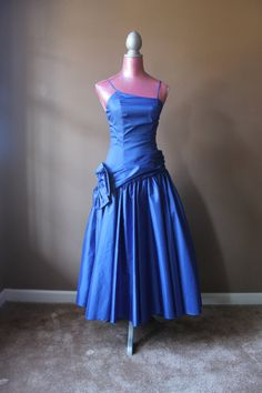 Vintage 80s does the 50s Blue Prom Dress by benbeautiful on Etsy, $44.00