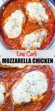 Low Carb Meals This Easy Mozzarella Chicken in homemade tomato sauce is low carb and made in one skillet. Pan Seared Chicken cooked in chunky tomato sauce and topped with gooey mozzarella is a perfect low carb dinner. Low Carb Chicken Recipes, Low Carb Recipes, Cooking Recipes, Healthy Recipes, Low Carb Chicken Parmesan, Low Carb Chicken Dinners, Easy Recipes, Low Carb Sauces, Snacks Recipes