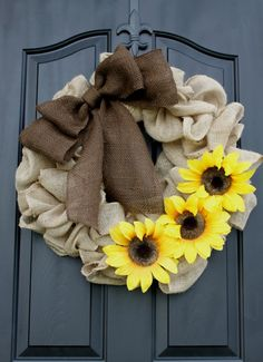 Burlap Wreath - Etsy Wreath - Summer wreaths for door - Sunflower Wreath - Door Wreath - Monogram wreath Burlap Crafts, Wreath Crafts, Diy Wreath, Wreath Ideas, Burlap Projects, Wreath Making, Crafts To Do, Fall Crafts, Diy Crafts