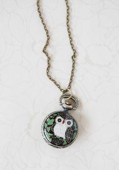 Nocturnal Wisdom Owl Watch Necklace | Modern Vintage Ruchette
