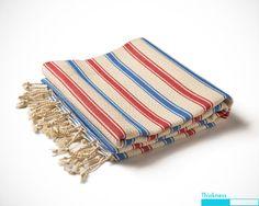 Damla Peshtamal Turkish Towel Red and Blue Fouta by Orientina, $24.00