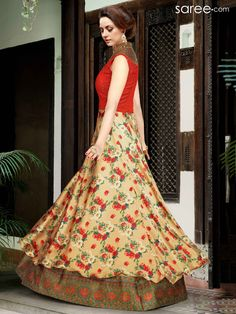 RED AND BEIGE SATIN FLOOR LENGTH ANARKALI SUIT WITH EMBROIDERY WORK