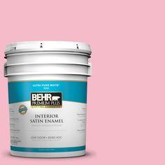 BEHR Premium Plus 5-gal. #120C-2 Pink Punch Zero VOC Satin Enamel Interior Paint