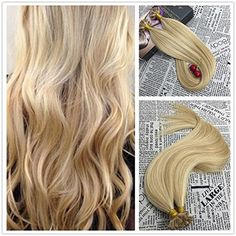 $34!!! Moresoo 18inch Keratin Tip Human Hair Extensions U Tip Hair Remy Hair Extensions Color #14 Golden Blonde Highlighted with #613 Blonde Pre Bonded Hair Extensions Fusion Human Hair 1g/1s 50G #nail tip hair extensions #balayage nail tip #ombre tip hair extensions