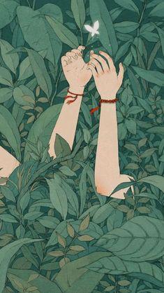 Cartoon Wallpaper, Anime Scenery Wallpaper, Kawaii Wallpaper, Pastel Wallpaper, Forest Wallpaper Iphone, Butterfly Wallpaper Iphone, Art And Illustration, Butterfly Illustration, Cartoon Kunst