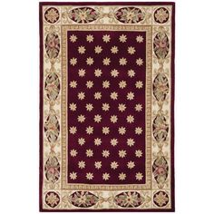 Safavieh Handmade Botanical Red New Zealand Wool Rug ((6 ft. x 9 ft.)), Size 6' x 9' (Cotton, Floral)