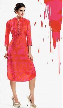 Georgette Fabric Orange Straight Type Readymade Kurti | FH460371872