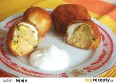 Smažená plněná vejce recept - TopRecepty.cz Baked Potato, Potatoes, Eggs, Baking, Breakfast, Ethnic Recipes, Food, Morning Coffee, Potato
