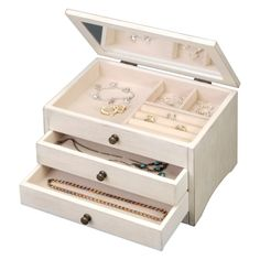 Wooden Antique White Jewelry Box - 10W x 6H in. - Classic didn't get that way by being complicated, and this Wooden Antique White…