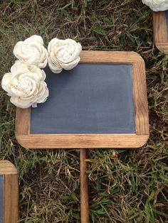 Rustic Wedding Chalkboard Sign - Standing Sign - Rustic Wedding Signage - Alternative Bridesmaid Bouquet - Chalkboard Photo Prop. $48.00, via Etsy.