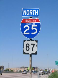 Colorado - U. S. highway 87 and interstate 25 sign.
