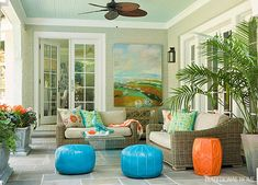 The most perfect lanai - blue painted ceiling - turquoise and orange - I could spend the day here. House of Turquoise: Kat Liebschwager Interiors