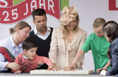 Queen Máxima puts her hand print in the plaster at the opening of the new Royal Kentalis Healthcare Education Centre in Zoetermeer, The Netherlands.